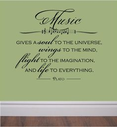'Music Gives Life to Everything' Quote - Vinyl Wall Decal // Etsy