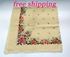 It's shawl extremely popular nowadays and can add up style and uniqueness to any outfit! Etsy Shipping, Free Shipping, Hippie Man, White Shawl, Vintage Scarf, Floral Scarf, Pink Gifts, Pretty In Pink, Perfect Pink