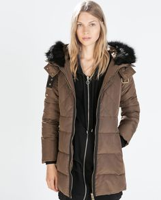 LONG PARKA WITH FUR COLLAR from Zara