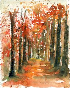 Autumn Forest Original watercolor painting 10x8 inch by Ireart