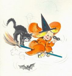 vintage Halloween little girl witch on broom with cat Vintage Halloween Images, Retro Halloween, Halloween Prints, Halloween Pictures, Vintage Holiday, Holidays Halloween, Spooky Halloween, Halloween Pumpkins, Halloween Stuff
