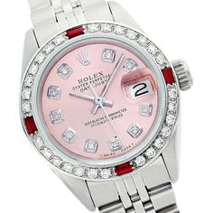 Pre-owned Rolex Datejust 6917 26mm Salmon PInk Diamond Ruby Watch ($4,339) ❤ liked on Polyvore featuring jewelry, watches, diamond bracelet, diamond jewelry, pink diamond jewelry, dial watches and rolex watches