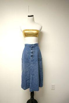 miss h.i.s  . 70s 80s A-line denim skirt  .  27.5 waist by june22