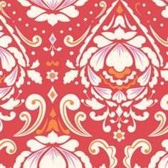 fabric swatch: medallion in red