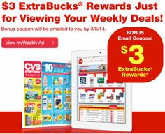 CVS $$ Possible FREE $3 ExtraBucks Reward Offer When You Sign Into myWeekly Ad (Select Members)!