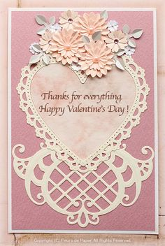 $Fleurs de Papier ~クラフトパンチや花紙で作る立体のお花いろいろ~-クラフトパンチでバレンタインカード