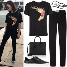 Amanda Steele posted a picture on instagram yesterday wearing an Undercover Heart on Fire T-Shirt ($165.00), Acne Pin Black Jeans ($220.00), a Saint Laurent Baby Sac De Jour ($2,650.00) and Axel Arigato Clean 90 Leather Trainers ($184.47). You can find similar jeans for less at H&M ($19.99).