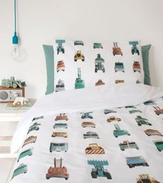 A crisp white cotton single bed set featuring work vehicles of every kind. Contains 1 duvet cover x and 1 pillowcase x Single Bedding Sets, Duvet Sets, Green Boys Room, Pottery Barn Teen Bedding, Black Bed Linen, Lit Simple, Childrens Beds, Luxury Bedding Sets, Baby Boy Rooms