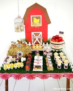 This is what we are doing for Tanners first Birthday & John Deere Tractors :) Barnyard Red Barn Farm Birthday Party Ideas