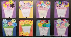Spring descriptive writing using 5 senses- Brighten up your bulletin board with this simple spring writing craftivity! first and second grade descriptive writing