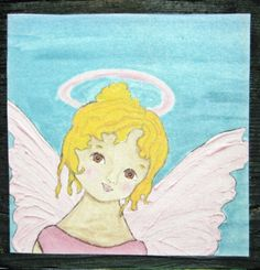 Angel Faerie  Print mounted on Wood 3 1/2 x 3 1/2 x by icColors, $15.00