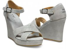 Slate is one of our favorite colors of the season || TOMS+ Serpentine Grey Strappy Wedge
