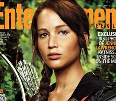 """JL as Katniss and the unfortunate """"Vap"""" pose (as in vapid) so often styled on models and actresses"""