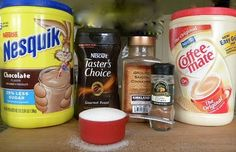 DIY Campfire Mocha Cappacino Mix 1 cup Coffee-Mate coffee creamer 1 cup Nesquik chocolate drink mix 2/3 cup instant coffee crystals 1/2 cup granulated sugar 1/2 teaspoon ground cinnamon 1/4 teaspoon ground nutmeg Add 3 tablespoons of mix to 8oz. of hot water. Stir. Enjoy!