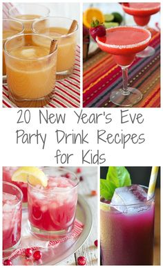 20 New Year's Eve Party Drink Recipes for Kids including juice, soda, and fun punch recipes! New Years Eve Snacks, New Year's Snacks, New Years Eve Drinks, New Years Eve Dessert, Kids New Years Eve, New Year's Eve Cocktails, New Year's Eve Appetizers, New Years Eve Party, Kid Drinks