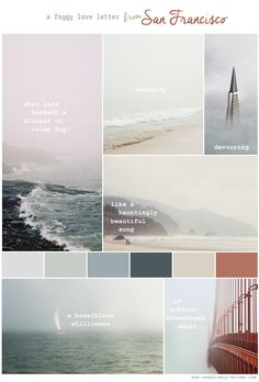 A color palette study on foggy romantic places.