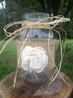 Items similar to Shabby Chic Rustic Wrapped Mason Jar - Rustic Wedding Decor - Rusic Mason Jar - Wedding Centerpiece on Etsy Chic Wedding, Fall Wedding, Rustic Wedding, Our Wedding, Dream Wedding, Wedding Centerpieces Mason Jars, Wedding Decorations, Decoration St Valentin, Deco Champetre