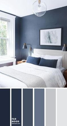 Bedroom color scheme ideas will help you to add harmonious shades to your home which give variety and feelings of calm. From beautiful wall colors. color schemes grey Dark blue and light grey bedroom color scheme Bedroom Colour Schemes Blue, Grey Bedroom Colors, Light Gray Bedroom, Navy Blue Bedrooms, Blue Master Bedroom, Blue Rooms, Navy Bedroom Walls, Interior Design Color Schemes, Grey Living Room Ideas Color Schemes