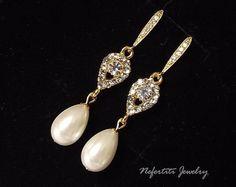 Gold wedding bridal earrings crystal pearl by nefertitijewelry2009, $38.00
