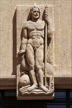 sculpture d'Elie-Jean Vézien. Marseille French Sculptor, Gaston, Logs, Sculpting, Art Deco, Statue, Decorations, Marseille, Sculpture