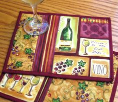 Wine Wine Bottle Mug Rug Quilted Handmade Cotton Fabric Patchwork Snack Trivet… Table Runner And Placemats, Quilted Table Runners, Fabric Placemats, Mug Rug Patterns, Quilt Patterns, Canvas Patterns, Small Quilts, Mini Quilts, Quilting Projects