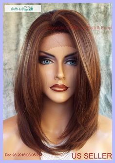 Lace Front Wig HAND TIED HEAT FRIENDLY P4.27.30 SOFT STRAIGHT LAYERS USA 1131 #Sepia