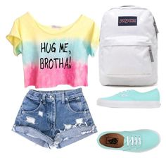 """""""Hug me brotha"""" by puppy-love-68 on Polyvore featuring Vans and JanSport"""