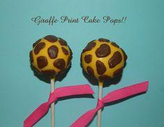 12 Giraffe Print Cake Pops Zoo Party Animal Theme Favors Birthday Baby Shower. $22.00, via Etsy.