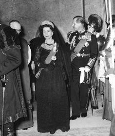 Queen Elizabeth II with Prince Philip meeting Vatican Troops