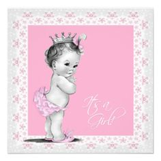 Pink and Gray Baby Girl Shower Custom Invitations