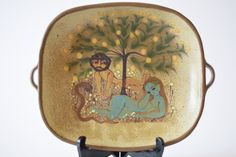 SOLD RARE Dybdahl Denmark tray with handles Adam & Eve in Eden handpainted decor 1971 Danish pottery mid century
