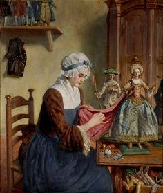 Angelo de Courten: Die Puppenmacherin (This is by a 19th century artist, but I had to add it to the board as it's such a great image of a doll maker at work on fashion dolls .)