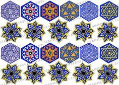 Ceramic decals, turkish iznik motifs, 22 images. For sale at the Etsy shop of Stained Glass Elements. Keramische transfers, turkse motieven, keramische decals, 760-850 ºC, decals keramiek, decals voor glas, decals emailleren, iznik, islam