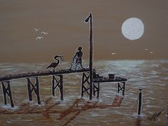 "Painting by Ricky Trione called ""Fishing Buddies.""  Memories of the Pecan Street Pier in Fairhope, Alabama on Mobile Bay."