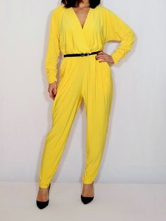 ceedd8acf800 Yellow jumpsuit Long sleeve jumpsuit Batwing jumpsuit with pockets Bright  yellow pant suit Yellow Jumpsuit
