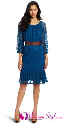I love lace dresses. Interesting blue with brown belt. Easy to add leggings and boots for fall.