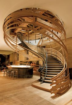 Interior Design Magazine: Jouin Manku designed this modern meets farmhouse staircase for the recently renovated Brasserie les Haras in Strasbourg, France. Royal Studs: Jouin Manku Renovates Former Lo Architecture Design, Amazing Architecture, Stairs Architecture, China Architecture, Organic Architecture, Interior Design Magazine, Wooden Staircases, Stairways, Wooden Stairs