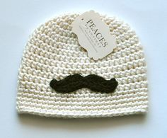 Baby Hats  Cream / Off White Mustache Baby by peacesbycortney #babyhat @babylist