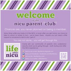 As a NICU parent, you are not alone... you will get through this. Plus, your journey doesn't end on discharge day. Come join us - find other parents just like you, who understand exactly what you're going through. Connect with us: http://facebook.com/lifeafternicu