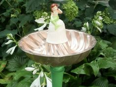 Mermaid bell, Jelly Mold and Salvaged Spindel becomes a birdbath