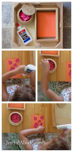 Montessori gluing work. Practice control to make tiny glue dots vs huge blobs.