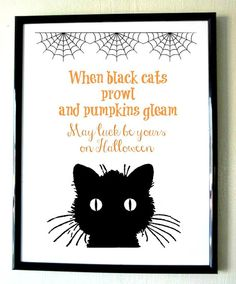 Black and Orange Black Cat Halloween Saying 8x11 by PrinsCharming, Printable $6.99