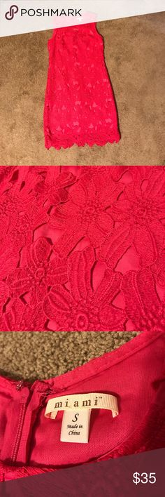 """Pink dress Size Small Miami brand pink dress.  Dress has a pink underlay with pink crochet-like flowers overlay.  Worn once.  Measures 35"""" from shoulder to hem miami Dresses"""