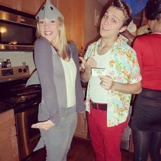 A throwback to the '90s. What you need to do: Gray clothing and a cute hat will finish off the dolphin costume nicely. Ace Ventura needs a cheesy shirt, wifebeater, and red pants.  Source: Instagram user julesdance