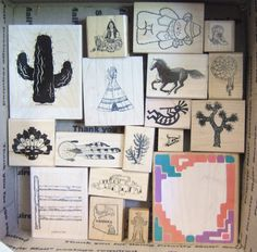 LOT OF 18 SOUTHWEST WESTERN THEMED RUBBER STAMPS CACTUS, PEOPLE & MORE NO RESERV #MIXEDBRANDS Stamp Collecting, Westerns, Cactus, Stamps, Gallery Wall, Frame, People, Ebay, Things To Sell