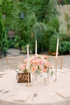 Romantic al fresco pastel table decor: http://www.stylemepretty.com/2017/03/13/saying-i-do-at-the-most-romantic-urban-garden-escape/ Photography: Brooklyn View - http://www.brklynview.com/