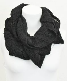 Look what I found on #zulily! Black Ruffle Eyelet Infinity Scarf by Leto Collection #zulilyfinds