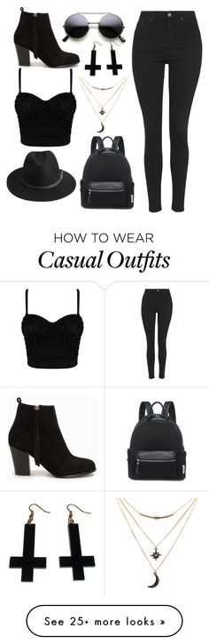 """black casual"" by ruthjauregui on Polyvore featuring BeckSöndergaard, Topshop, Nly Shoes, Charlotte Russe and Chicnova Fashion"