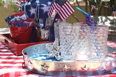 Entertaining for the 4th of July with items from #Goodwill.  Glasses, tray and tablecloth from #Goodwill.  #thrift #4th of July #decor #party #BBQ