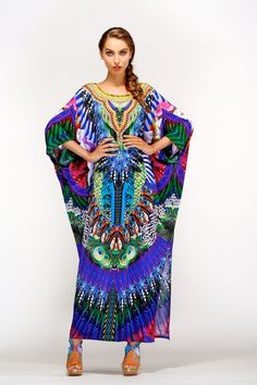 Camilla Huastecan Jungle Long Kaftan with Side Slit